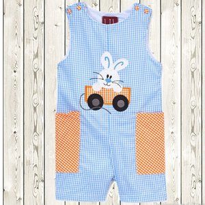 Lil Cactus Easter Bunny Baby Boys Overalls Romper